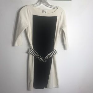 MILLY Black & White Mini Belted Dress